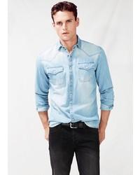 Mango Classic Fit Light Denim Shirt