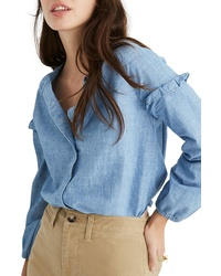 Madewell Collarless Ruffle Sleeve Denim Shirt