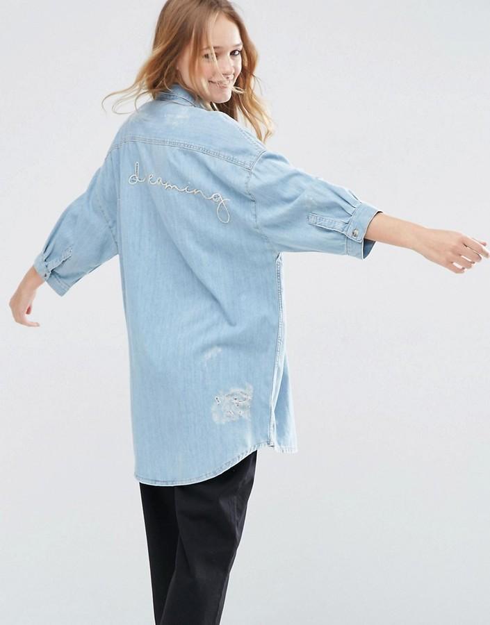 496c9410ba094 Asos Collection Denim Destroyed Embroidered Boyfriend Shirt, $57 ...