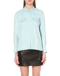 The Kooples Contrast Detail Denim Shirt