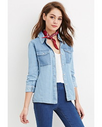 Forever 21 Contrast Pocket Denim Shirt