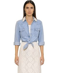 Cropped Embellished Cotton Denim Shirt