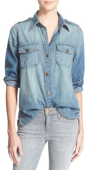 d0130e638a Women s Fashion › Shirts › Denim Shirts › Light Blue Denim Shirts Current Elliott  Women s Current elliott  The Perfect  Button Front ...