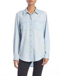 Lord & Taylor Denim Roll Tab Shirt