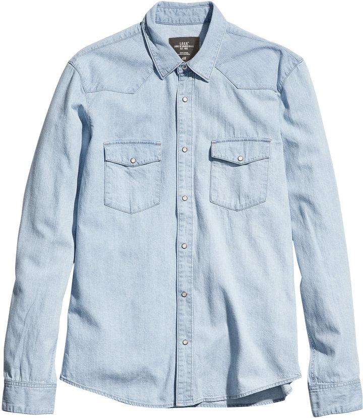 33f0fc03a148 H&M Denim Shirt Dark Denim Blue, $34   H & M   Lookastic.com