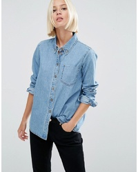 ASOS DESIGN Denim Shirt In Cali Light Wash