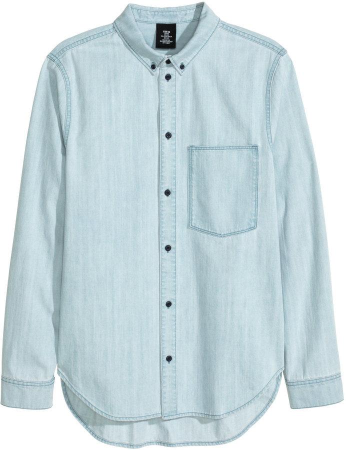 72a5e6960be0 H&M Denim Shirt Light Denim Blue, $29   H & M   Lookastic.com