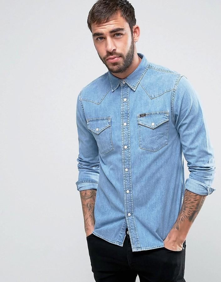 ... Light Blue Denim Shirts Lee Denim Western Slim Fit Shirt Stone Bleach  Wash ... 0fd6d431c6f15