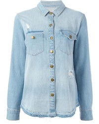 Distressed denim shirt medium 397489