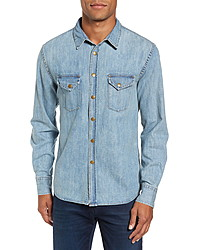 Billy Reid Distressed Denim Slim Fit Western Shirt