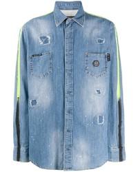 Philipp Plein Distressed Long Sleeve Denim Shirt