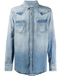 Saint Laurent Distressed Western Denim Shirt