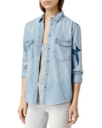 AllSaints Embroidered Denim Shirt