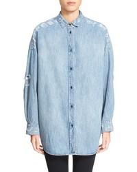 IRO Emira Distressed Oversize Denim Shirt