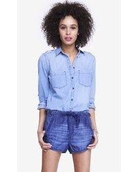 Express Convertible Sleeve Denim Boyfriend Shirt