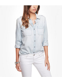 Express Light Wash Denim Boyfriend Shirt