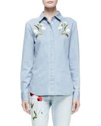Stella McCartney Floral Embroidered Denim Shirt Pale Blue
