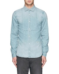 Nobrand Frat Bib Detail Denim Shirt