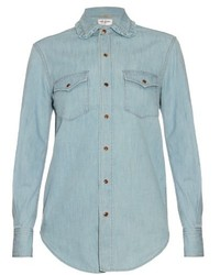 Saint Laurent Frill Collar Denim Shirt