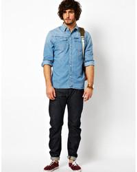 0c3077cb8f6e G Star Denim Shirt In Light Aged Wash, $178 | Asos | Lookastic.com