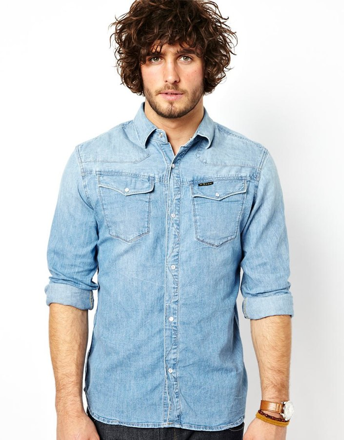 g star denim shirt in light aged wash where to buy how to wear. Black Bedroom Furniture Sets. Home Design Ideas