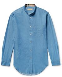 Burberry Grandad Collar Denim Shirt