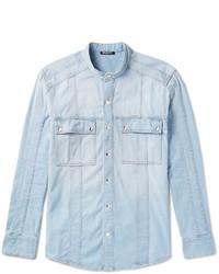 Balmain Grandad Collar Denim Shirt