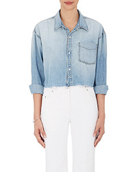 Grlfrnd Christy Denim Boyfriend Crop Shirt