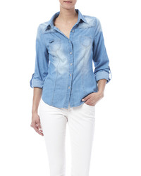 In Style Bleached Denim Shirt