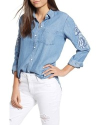 Ingrid embroidered chambray shirt medium 8852108
