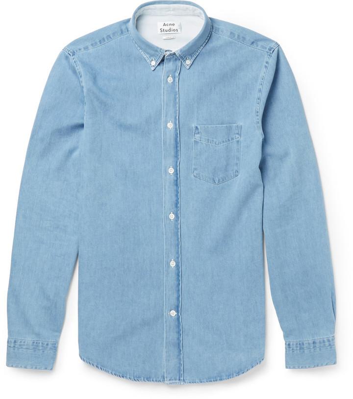 ... Acne Studios Isherwood Button Down Collar Washed Denim Shirt ...