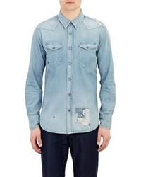 Kuro Distressed Western Shirt Blue