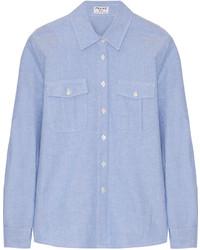 Frame Le Boyfriend Cotton Shirt Light Blue