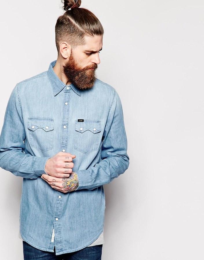 Lee Denim Shirt Rider Sky Blue Light Wash Where To Buy