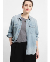 Violeta BY MANGO Light Denim Shirt