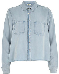 River Island Light Wash Crop Denim Shirt