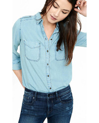 Light Wash Denim Soft Military Boyfriend Shirt