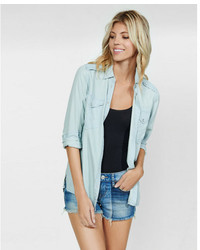Express Light Wash Soft Twill Boyfriend Shirt