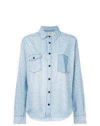 Saint Laurent Logo Patch Denim Shirt