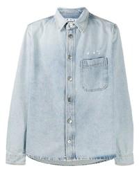 Off-White Logo Print Long Sleeve Denim Shirt