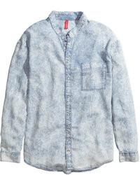 H&M Lyocell Denim Shirt Light Denim Blue Ladies