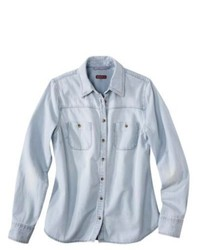 Merona Petites Long Sleeve Denim Shirt Light Blue Mp