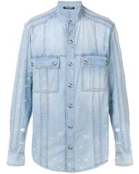 Balmain Mock Collar Denim Shirt