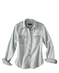 Mossimo Black Light Wash Denim Shirt L