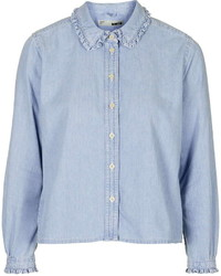 Moto Frill Collar Denim Shirt