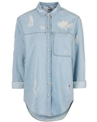 Topshop Moto Rip Detailed Denim Shirt
