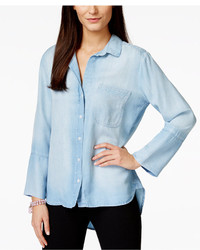 Olive Sloane Olive Sloane High Low Light Mist Wash Denim Shirt Only At Macys