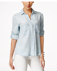 Olive Sloane Olive Sloane Printed Denim High Low Shirt Only At Macys