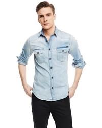 Mango Outlet Classic Fit Light Denim Shirt