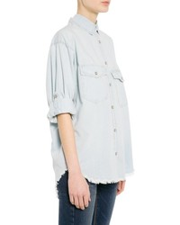 Mango Outlet Frayed Denim Shirt